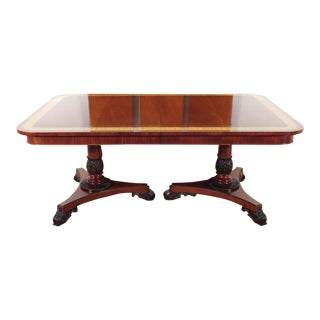 Baker Furniture Company Regency Collection Inlaid Dining Table With 3 Leaves For Sale