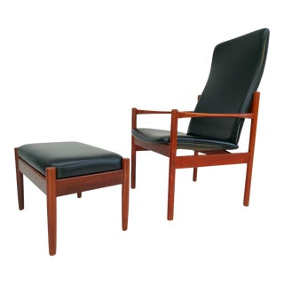 Danish Armchair With Stool, Teak Wood, Original Very Good Condition, 60s For Sale
