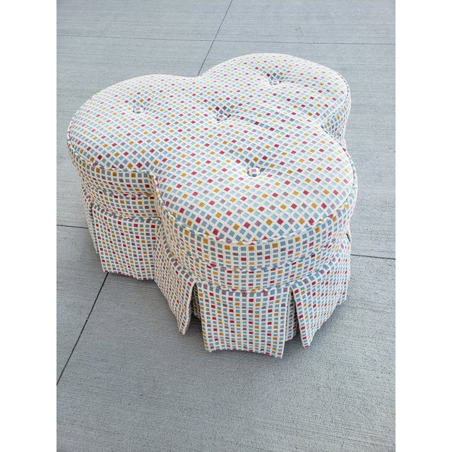 Contemporary Clover Form Ottoman For Sale - Image 4 of 13