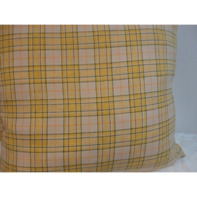 Pendleton Woolen Mills Pendleton Yellow Plaid Blanket Pillows - Pair For Sale - Image 4 of 4