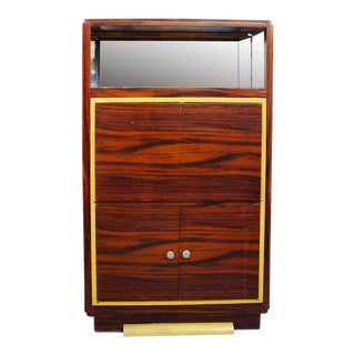 High Style Art Deco Macassar Ebony Vitrine Cabinet & Secretary Desk For Sale