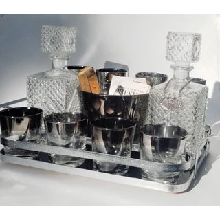 Mid Century Decanters and Silver Fade Glasses With Ice Bucket and Tongs in Tray - Set of 13 Preview