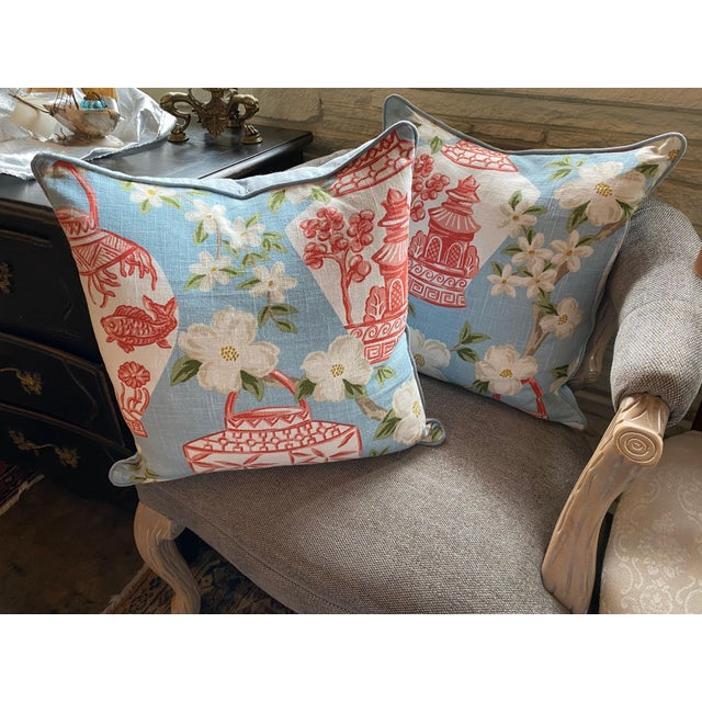 New custom blue and coral custom chinoiserie pillow. Two available.