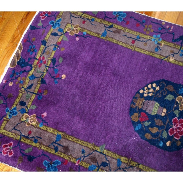 1920s, Hand Made Antique Art Deco Chinese Rug 2.10' X 4.9' For Sale - Image 12 of 13
