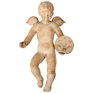 Large Signed European Terracotta Cherub Puti