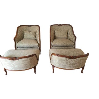Victorian Style Upholstered Lounge Chairs With Ottomans by Beacon Hill- a Pair For Sale