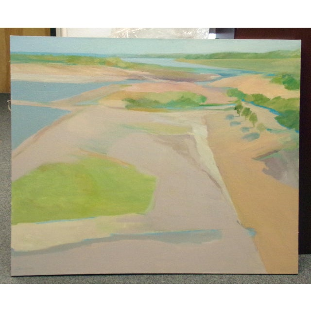 Original aerial landscape oil painting on canvas by American James Conaway. Stretched, not framed. Hand signed by the...