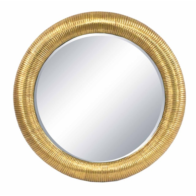 Round Gold-foiled Ribbed Mirror For Sale In New York - Image 6 of 6