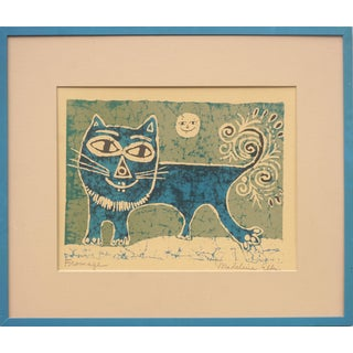 Mid Century Batik Cat by Madeline Ellis For Sale