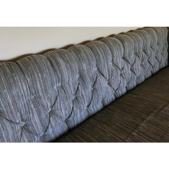 Vintage Gray Tufted Sofa & Pillow - Image 4 of 7