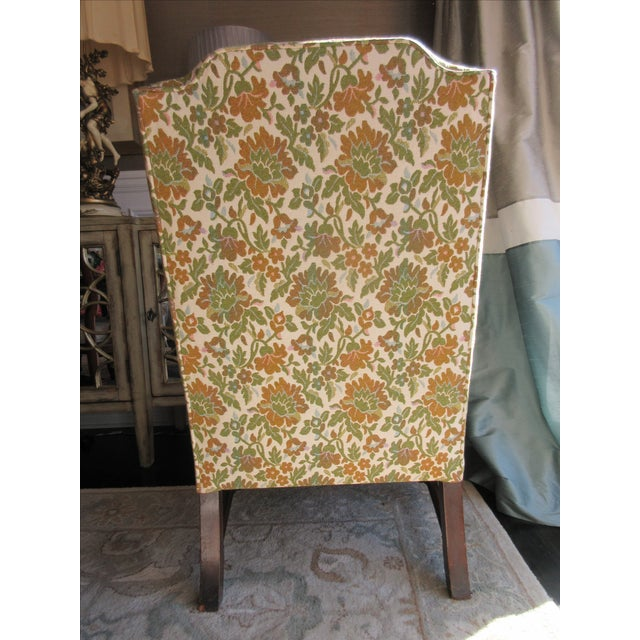 Antique Green & Orange Floral Wing Chair - Image 4 of 8