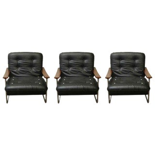 Black Italian Leather Armchairs - Set of 3
