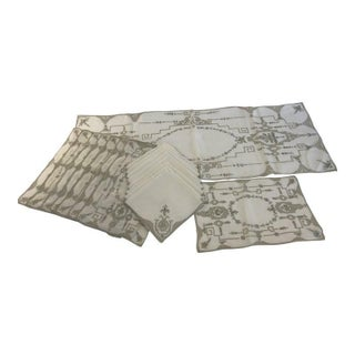 Vintage Italian Linen Runner, Place-Mats and Napkins - 17 Pieces For Sale