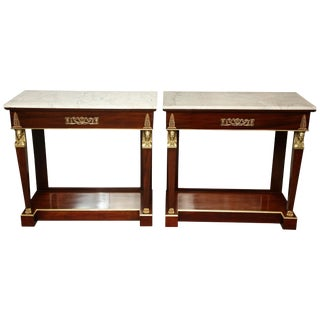 Pair of Empire Marble-Top Consoles For Sale
