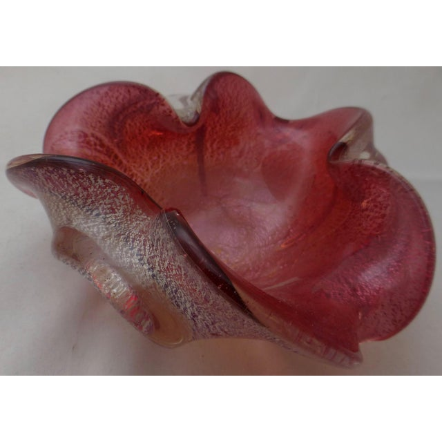 Venetian art glass candy dish. This one features silver fleck inclusions. Love the flared lip and organic form. The...