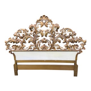 Vintage Italian Venetian Hand Carved Queen Size Headboard For Sale