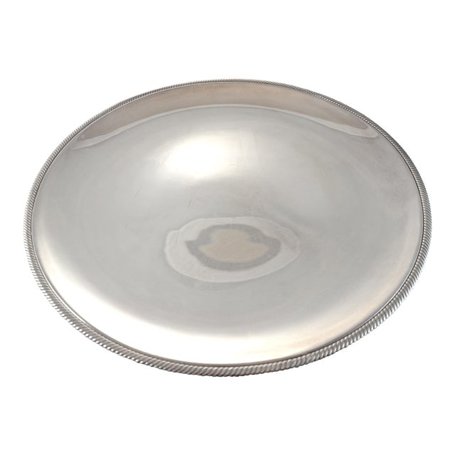 """Oversize 17"""" Round Silver Tray, Circa 1950s - Image 1 of 4"""