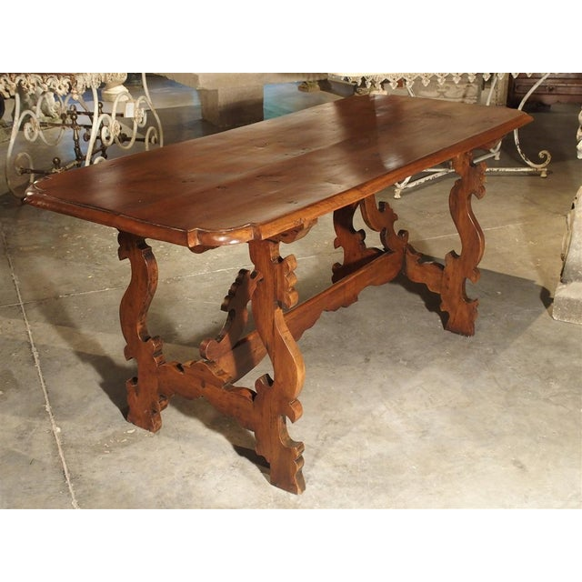 19th Century Tuscan Walnut Table With Shaped Wooden Stretchers For Sale - Image 9 of 13