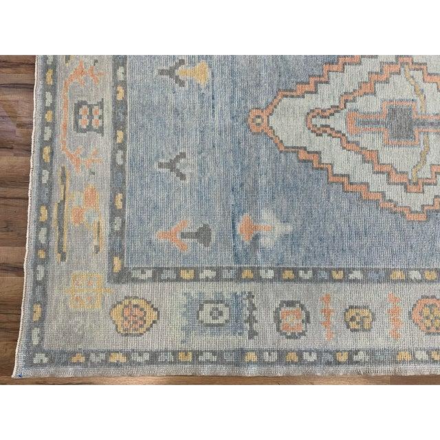 Turkish Oushak Blue Rug For Sale - Image 4 of 6