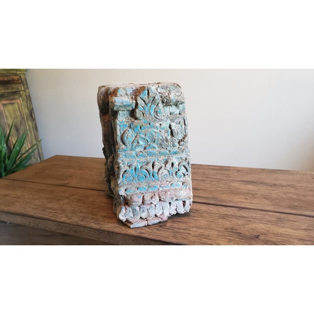 19th Century Architectural Salvage Hand Carved Wood Moulding Block From India For Sale - Image 10 of 12