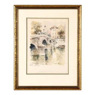 Vintage French Watercolor Painting of Le Pont Marie Paris For Sale