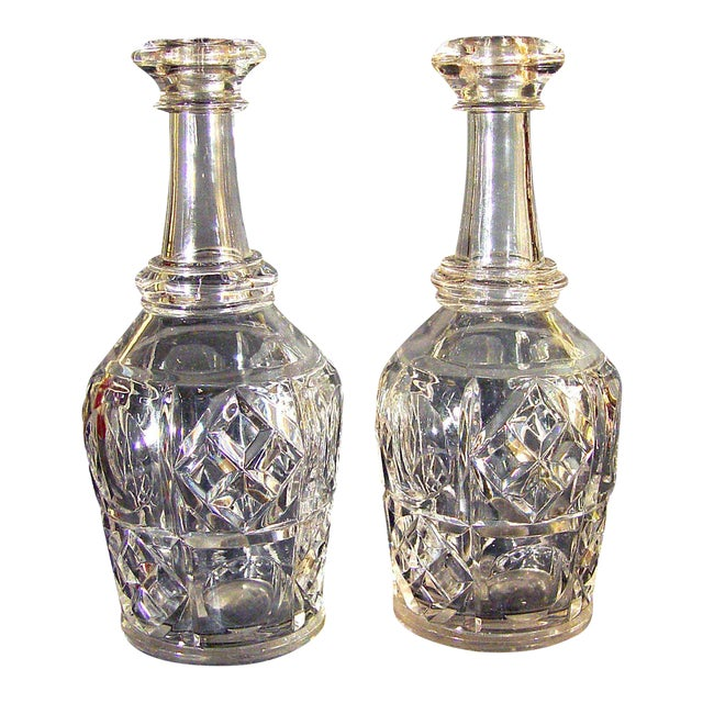 Pittsburgh Glass Bar Bottles or Decanters Bakewell Pears & Co. - A Pair For Sale