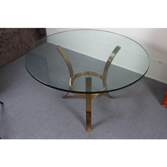 Metal 1970s Modern Brass and Glass Tripod Entry Table For Sale - Image 7 of 9