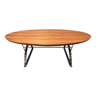 Mid Century Hickory White Oval Mahogany Coffee Table For Sale