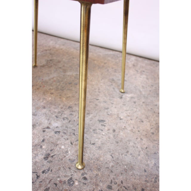 Pair of T.H. Robsjohn-Gibbings Walnut and Brass Nightstands For Sale - Image 9 of 11