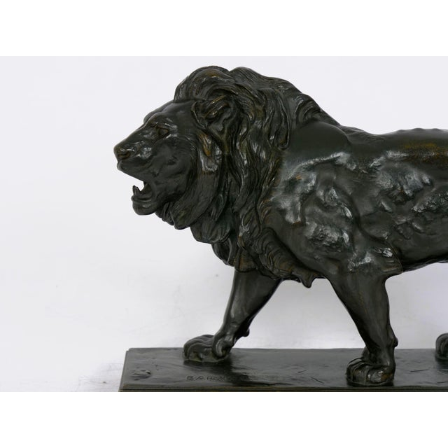 "19th Century ""Lion Marchant"" Antique French Bronze Sculpture by Antoine-Louis Barye, Barbedienne For Sale - Image 5 of 13"