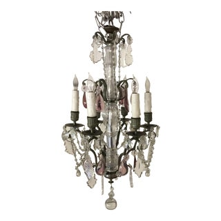1950s Crystal Drops and Beads Chandelier For Sale