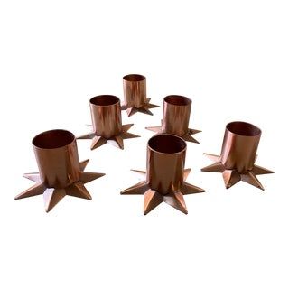 Copper Star Taper Candle Holders - Set of 6 For Sale