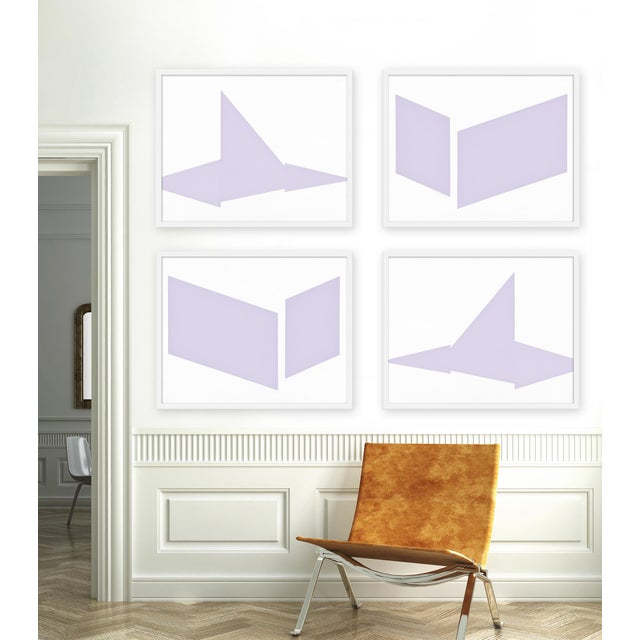 """Set of 4 giclée prints on textured fine art paper with white frames. Set of 4 measures 60"""" x 48""""; individual framed print..."""