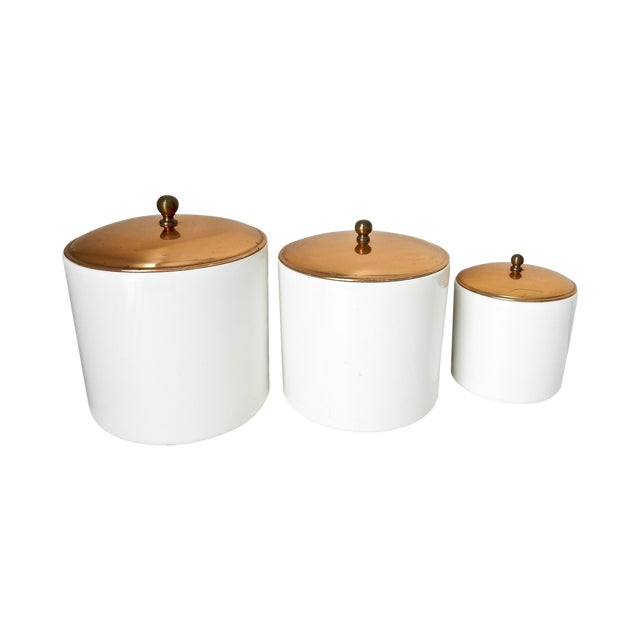 White Canisters with Copper Lids - Set of 3 - Image 1 of 7