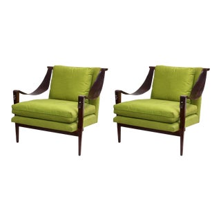 Enfield Chairs with Leather Swing Arms and Chartreuse Green Upholstery - a Pair For Sale