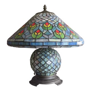 1960s Vintage Tiffany Style Stained Slag Glass Table Lamp For Sale