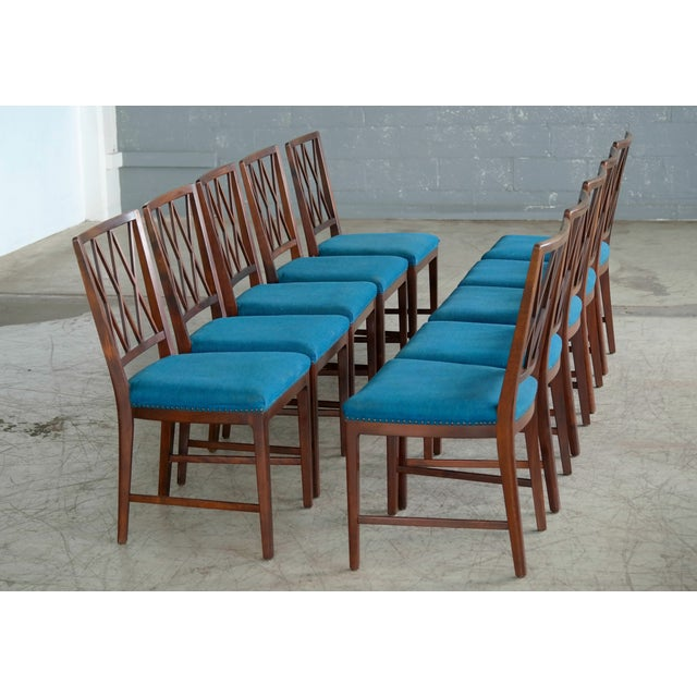 Art Deco Set of Ten Danish Chairs in Rosewood Stained Beech Attributed to Ole Wanscher For Sale - Image 3 of 10