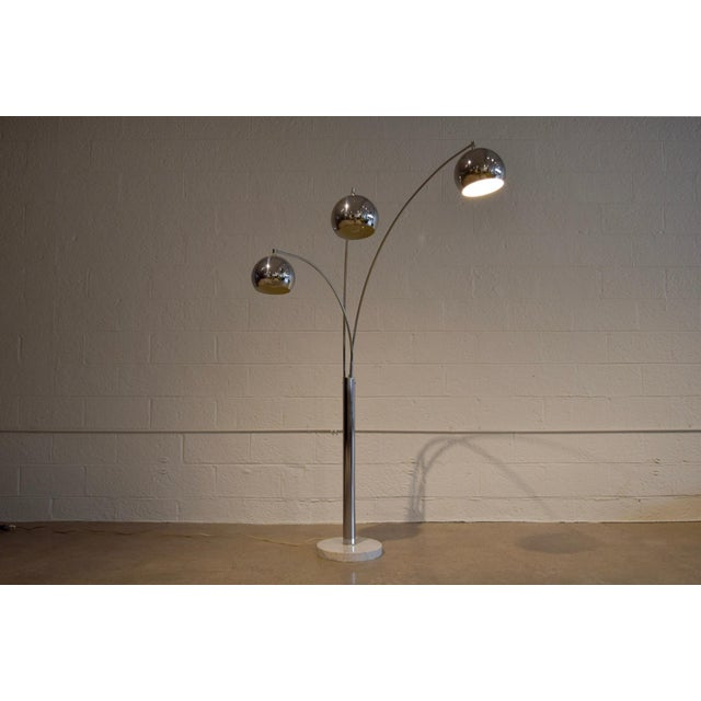 Mid Century Sonneman Style 3 Light Chrome Arc Floor Lamp with Marble Base - Image 7 of 11
