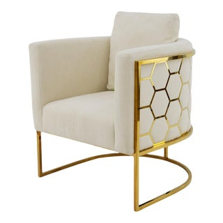 Modern Gold Honeycomb Chair For Sale