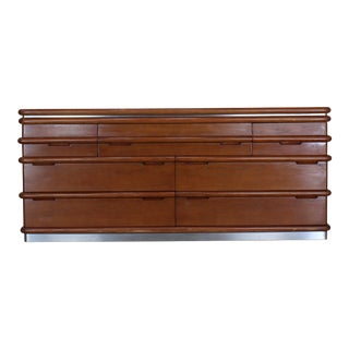 Jay Spectre Seven Drawers Credenza, Oak Credenza, Mid Century Sideboards For Sale