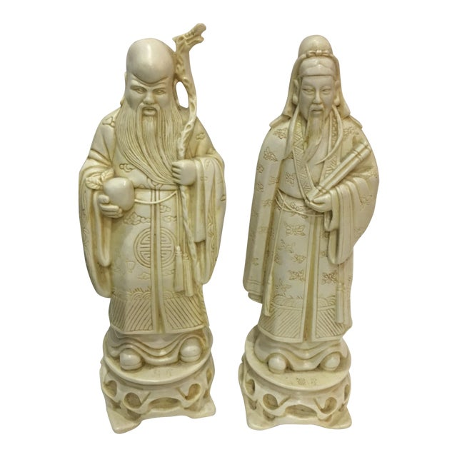 Vintage Chinese Old Scholars Figures - a Pair For Sale