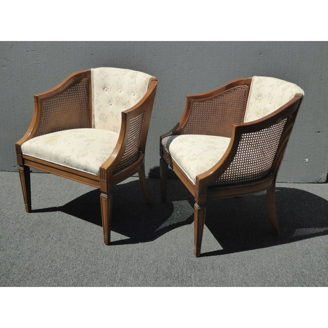 Vintage Wood & Cane White Club Chairs For Sale - Image 4 of 9