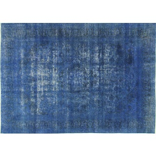 """Oriental Blue Overdyed Floral Rug - 9'5"""" x 13'3"""""""