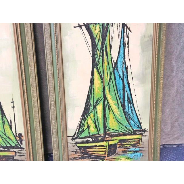 Mid Century Modern Green Sailboat Signed and Framed Prints - a Pair For Sale - Image 6 of 10