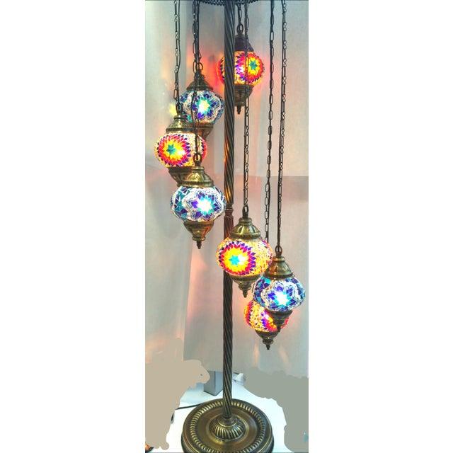 Brass Plated 7 Globe Tile Art Lamp - Image 4 of 6