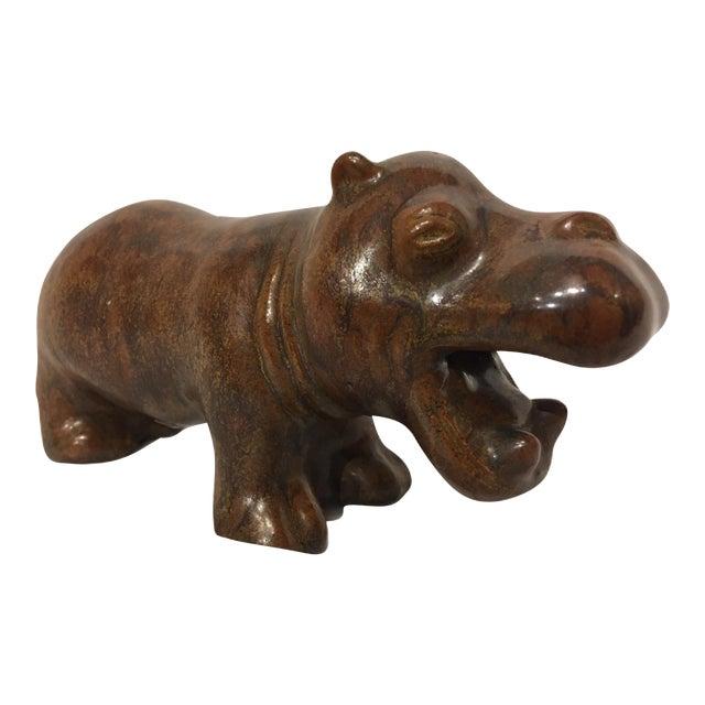 Vintage L. Hjorth Ceramic Hippo by Gertrud Kudielka, Denmark For Sale