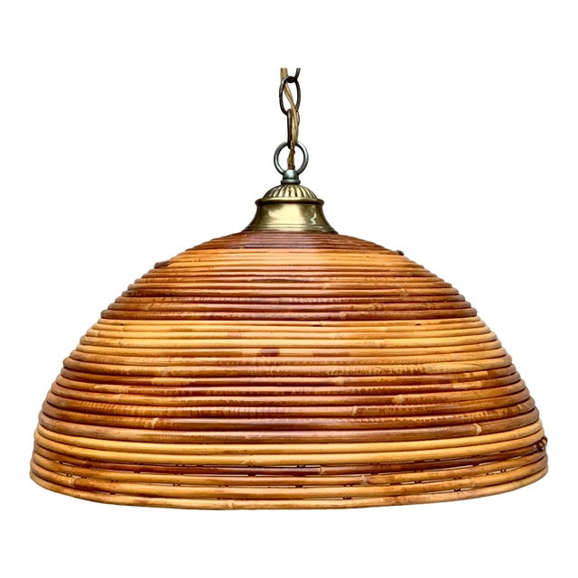 Vintage Bamboo Indoor/Outdoor Ceiling Light For Sale