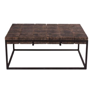 Mid-Century Modern Elm Blocks Coffee Table