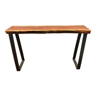 Rustic Live Edge Entry Table For Sale