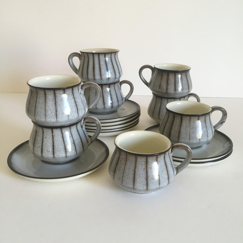 Mid Century Modern Denby Studio Stoneware Grey U0026 Espresso Dinnerware   Set  Of 57